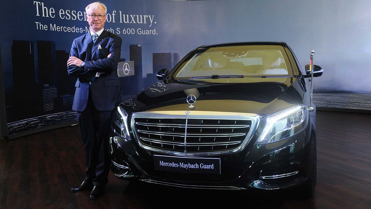 Roland Folger, Managing Director and CEO, Mercedes-Benz India  with the new Mercedes-Maybach S600 Guard. (Photo: Mercedes-Benz India)
