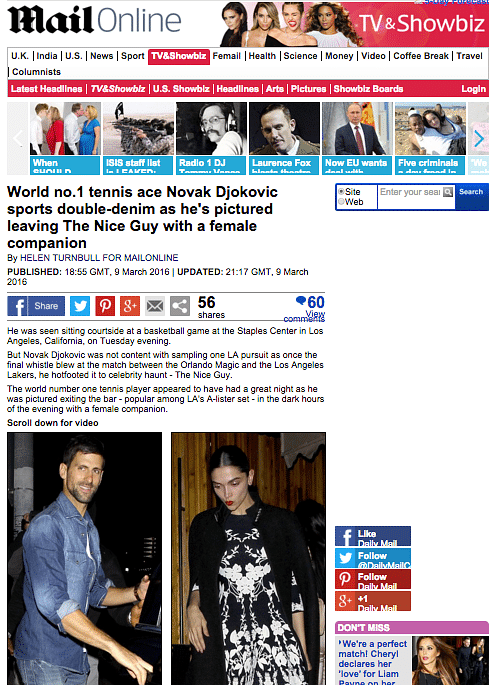 """The Daily Mail report on Djokovic and a """"leggy brunette"""""""
