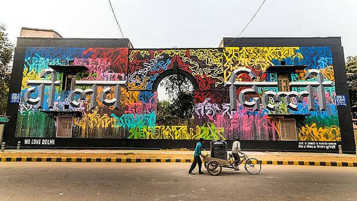 """A collaborative piece by French artists Lek and Sowat and Indian hand type artist and artistic director of 'st+art India', Hanif Kureshi. (Photo Courte: St+Art India's <a href=""""https://www.instagram.com/startindia/"""">Instagram</a>)"""