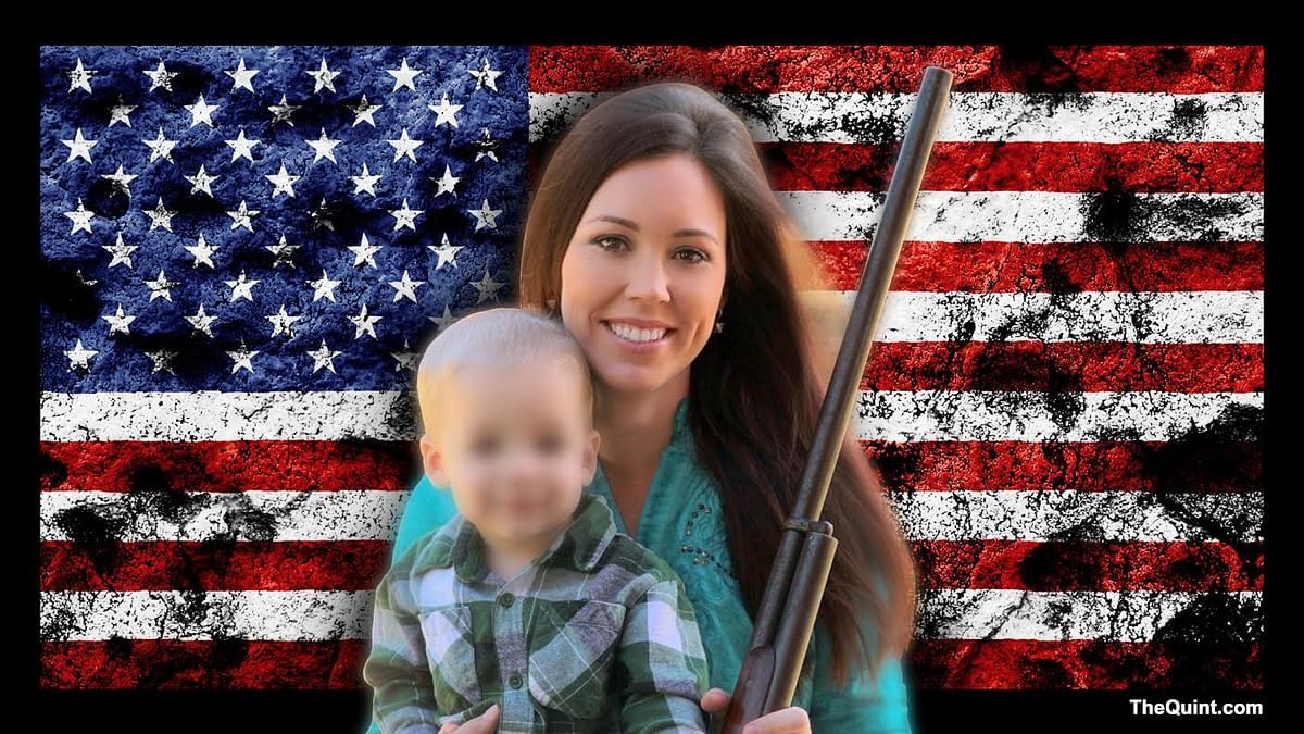 Pro-gun poster girl, Jamie Gilt, was shot by her 4-year-old son. (Photo altered by <b>The Quint</b>)
