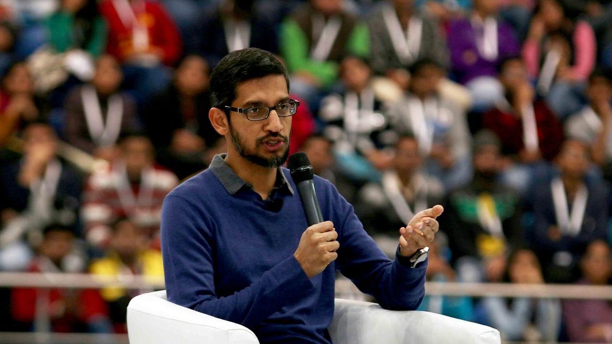 Google CEO Sundar Pichai during a programme at Sri Ram College of Commerce (SRCC) in New Delhi, on Dec 17, 2015. (Photo: IANS)