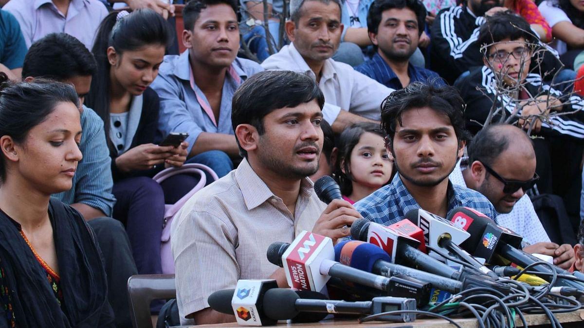 JNUSU president Kanhaiya Kumar addresses the media at JNU in New Delhi on March 4, 2016.