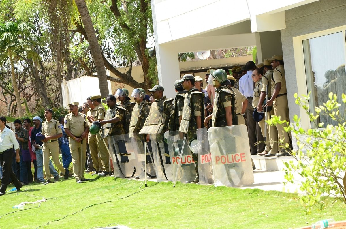 Security beefed up at Hyderabad University in the wake of students' demonstration against university Vice-Chancellor P Appa Rao after he returned from a nearly two-month leave in Hyderabad, on March 22, 2016. (Photo: IANS)