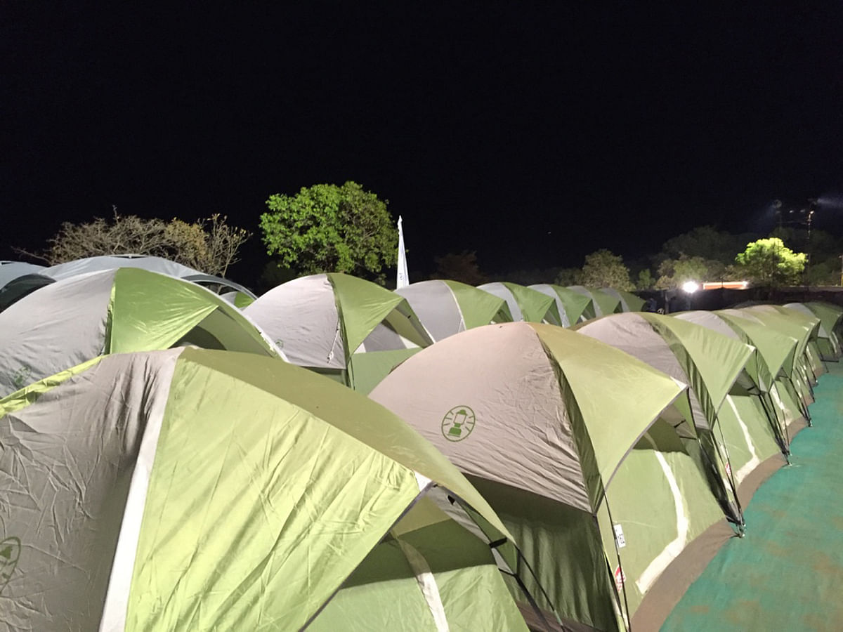 My humble abode for the night was a campsite with over 70 green tents – pitched side by side in a large compound. (Photo Courtesy: Radhika Sharma)