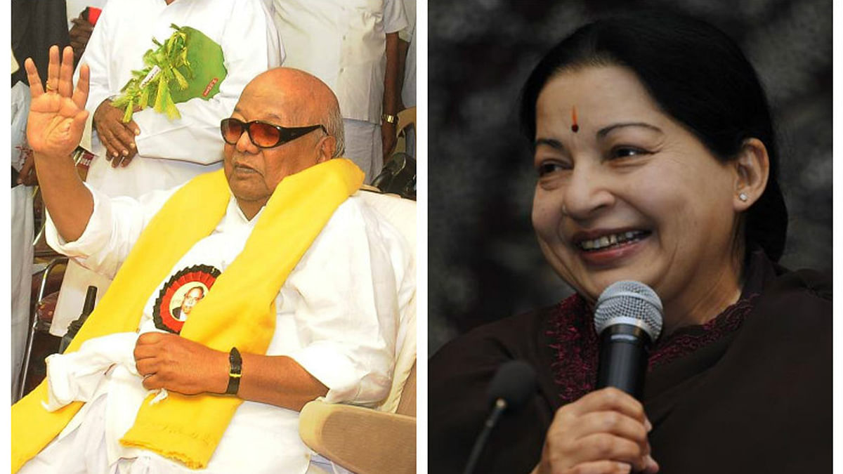 DMK President M Karunanidhi and AIADMK leader Jayalalithaa. (Photo Courtesy: <i>The News Minute</i>)