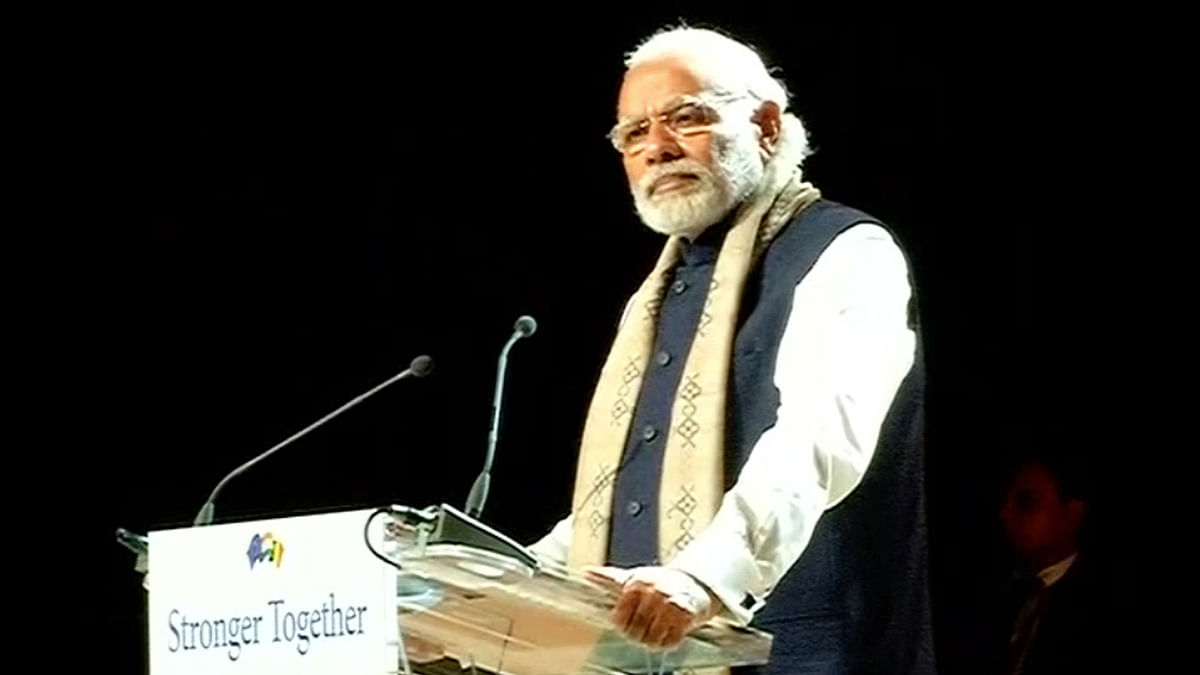 Prime Minister Narendra Modi addresses Indian diaspora in Brussels. (Photo: ANI)