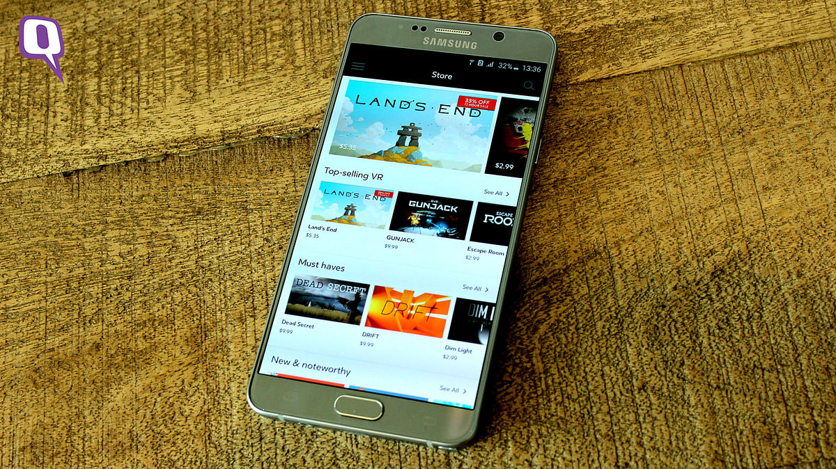 Oculus app store on the Samsung Galaxy Note 5 (Photo: <b>The Quint</b>)