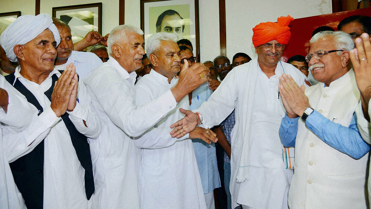 Haryana Chief Minister M  L  Khattar being greeted by Khap leaders after the Haryana Backward Classes  Bill, 2016, was passed in the state assembly  in Chandigarh on Tuesday. (Photo: PTI)