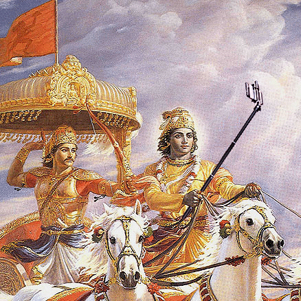 "Krishna using the selfie stick to document the great war and hence becoming a pioneer in creating viral content. (Photo Courtesy: Tumblr/<a href=""http://selfiegods.tumblr.com/"">Gods taking Selfie</a>)"