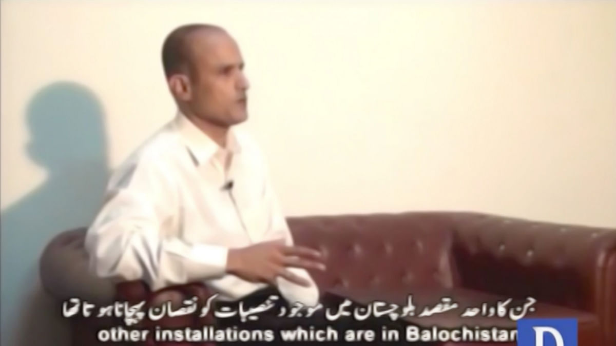"Kulbhushan Jadhav is shown to be a Commander in the Indian Navy in the  video. (Photo: <a href=""https://www.youtube.com/watch?v=Sw8l3nTbU6Q"">YouTube/DawnNews</a>)"