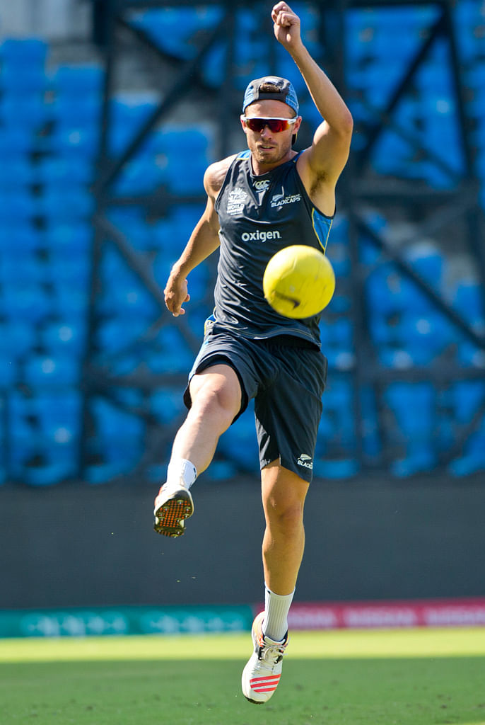 Kiwi fast bowler Tim Southee, at a practice session. (Photo: AP)