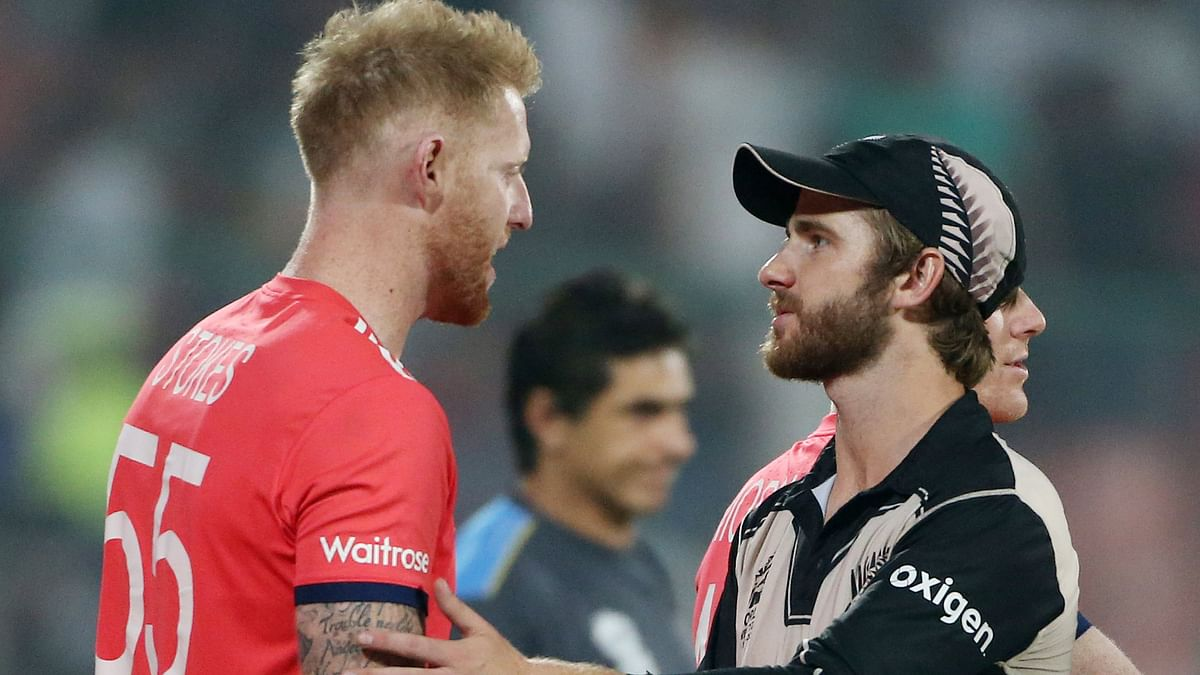 England's Ben Stokes, left, shakes hands with New Zealand's Kane Williamson after their ICC Twenty20 2016 Cricket World Cup semifinal. (Photo: AP)