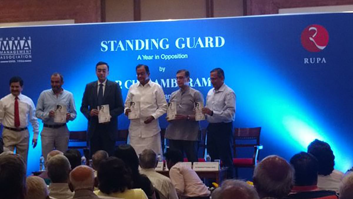 "Chidambaram at the launch of his book.&nbsp;(Photo: <a href=""https://twitter.com/Madrassan/status/703561109857390592"">Twitter</a>)"