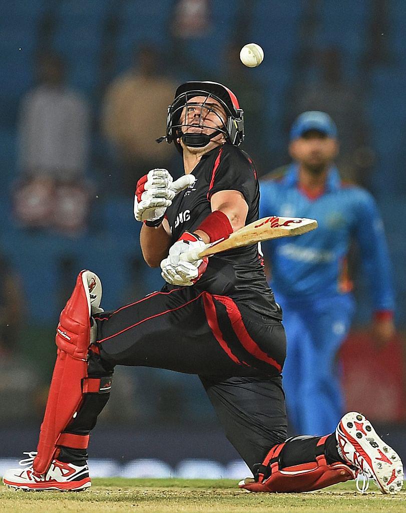 Hong Kong batsman Ryan Campbell during the match in Nagpur. (Photo: AP)