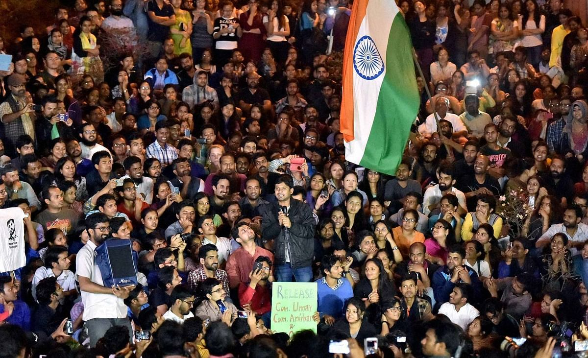 Kanhaiya Kumar speaking in JNU on 3 March 2016. (Photo: PTI)