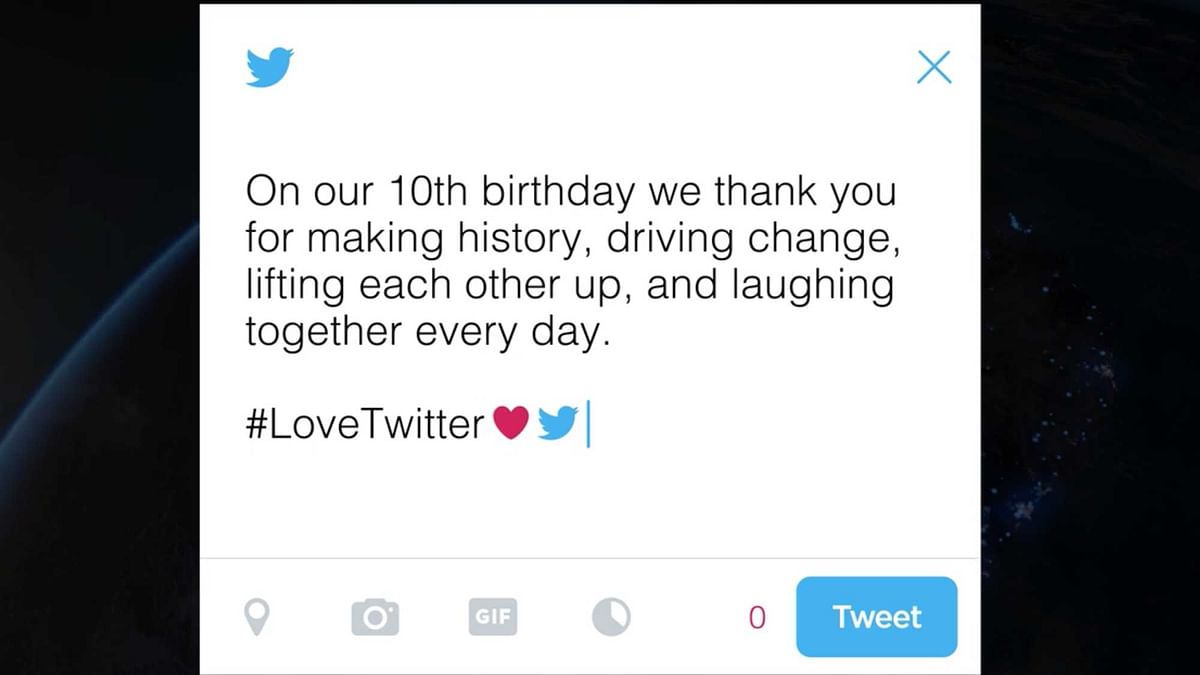 Twitter's 10th birthday message for all it's users. (Photo Courtesy: Twitter)