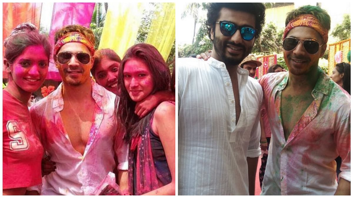 """Varun Dhawan had a blast of a time on Holi. (Photo: Twitter/<a href=""""https://twitter.com/BookMyBollywood/status/712958189482848256"""">BookMyBollywood</a>)"""