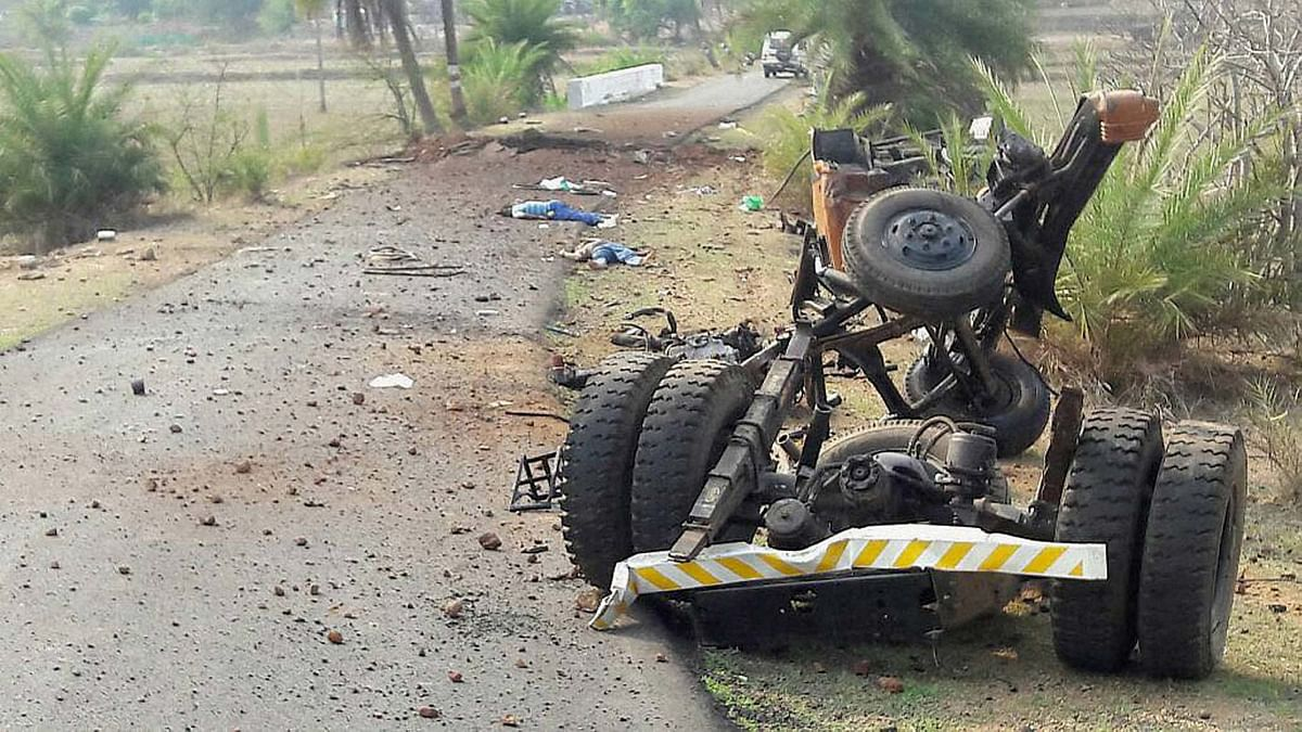 Mangled remains of a CRPF vehicle after a Naxal attack on a CRPF convoy in Dantewada on Wednesday, 30 March 2016. (Photo: PTI)