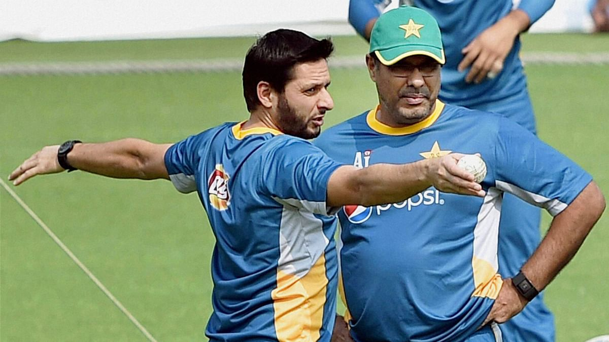 Shahid Afridi with coach Waqar Younis during a previous practice session. (Photo: PTI)