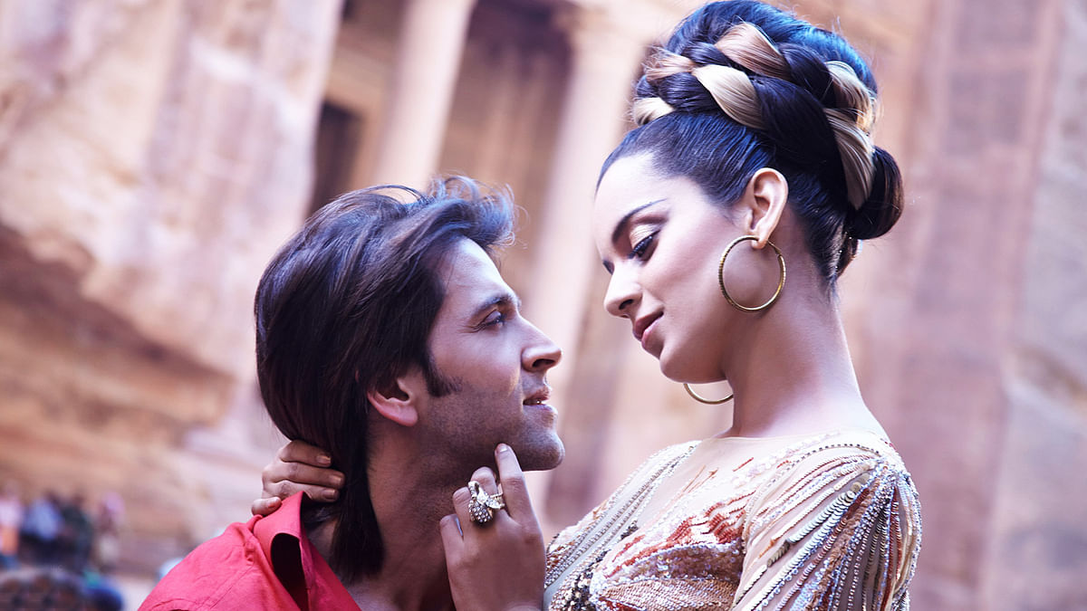 Kangana Ranaut and Hrithik Roshan in a scene from <i>Krrish 3</i>