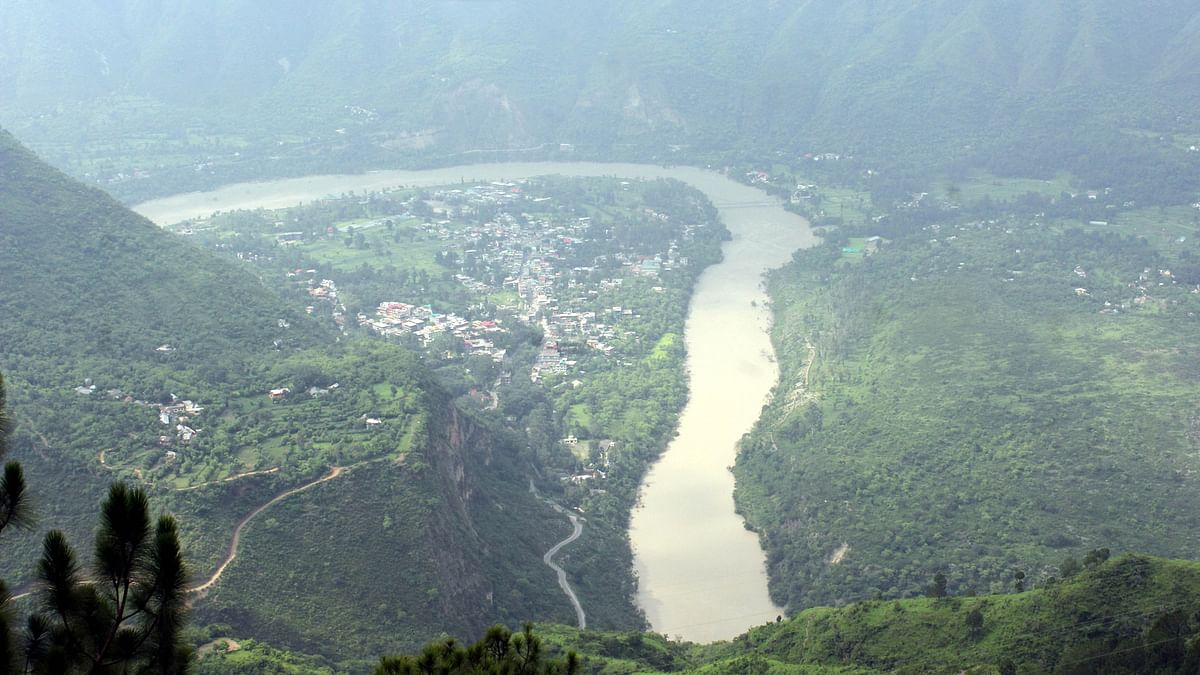 An aerial view of the Sutlej river. (Photo: IANS)