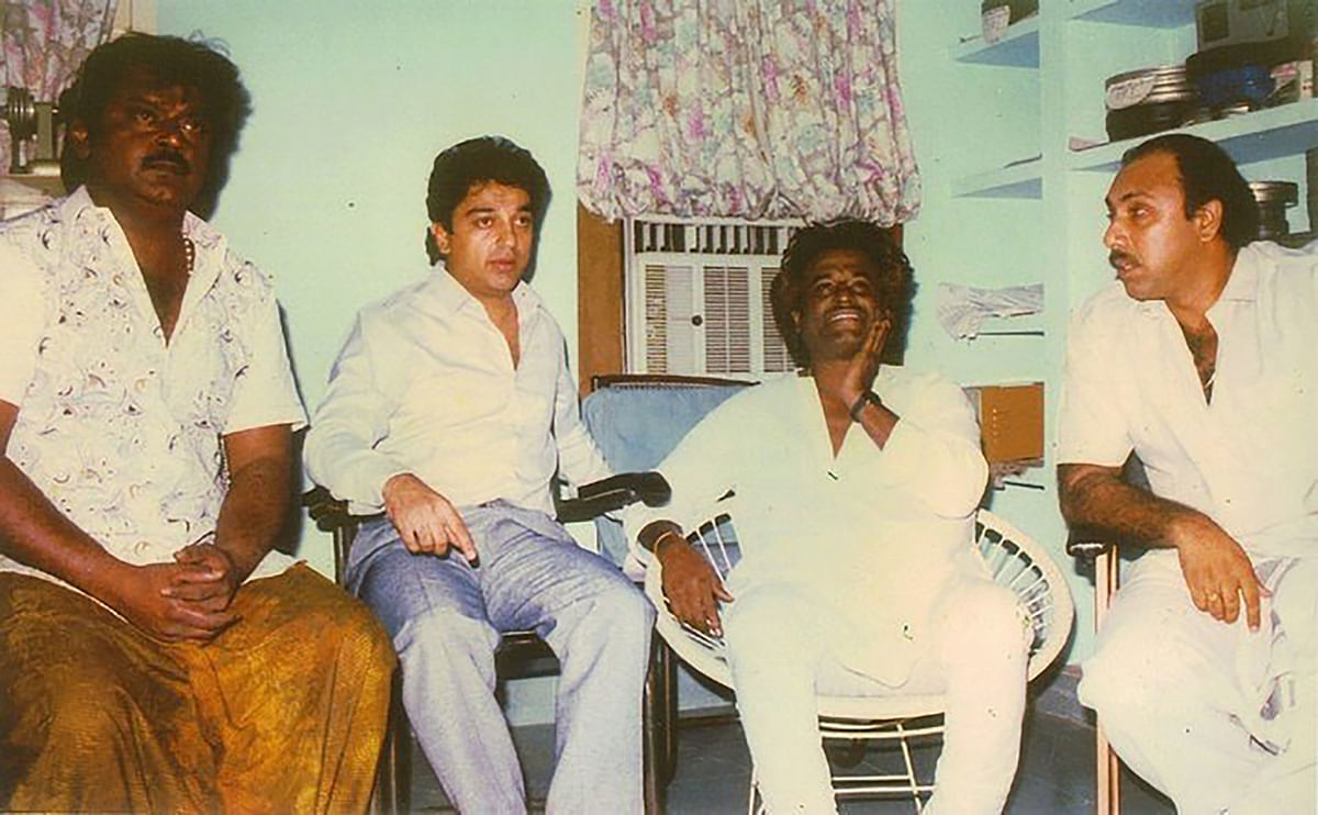 "Vijaykanth (extreme left), Kamal Hassan (2nd from left), Rajnikanth (2nd from right) and Sathyaraj. (Photo: <a href=""https://www.facebook.com/SuperstarRajni/photos/a.204713520597.142115.41272275597/10150233772690598/?type=3&amp;theater"">Facebook</a>)"