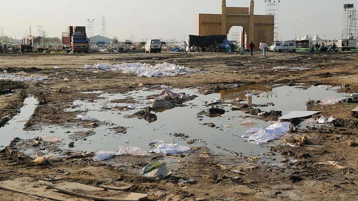 Garbage at the venue of the event. (Photo: Sanjoy Deb)