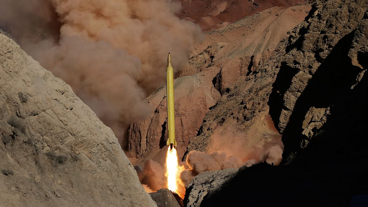 In this photo obtained from the Iranian Fars News Agency, a Qadr H long-range ballistic missile is fired by Iran's Revolutionary Guard in an undisclosed location in Iran (Photo: AP)