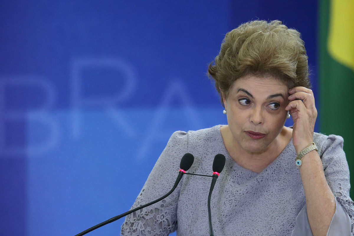 President Dilma Rousseff speaks during a meeting of pro-government lawyers Brazil on Tuesday (22 March). (Picture Courtesy: AP Exchange)