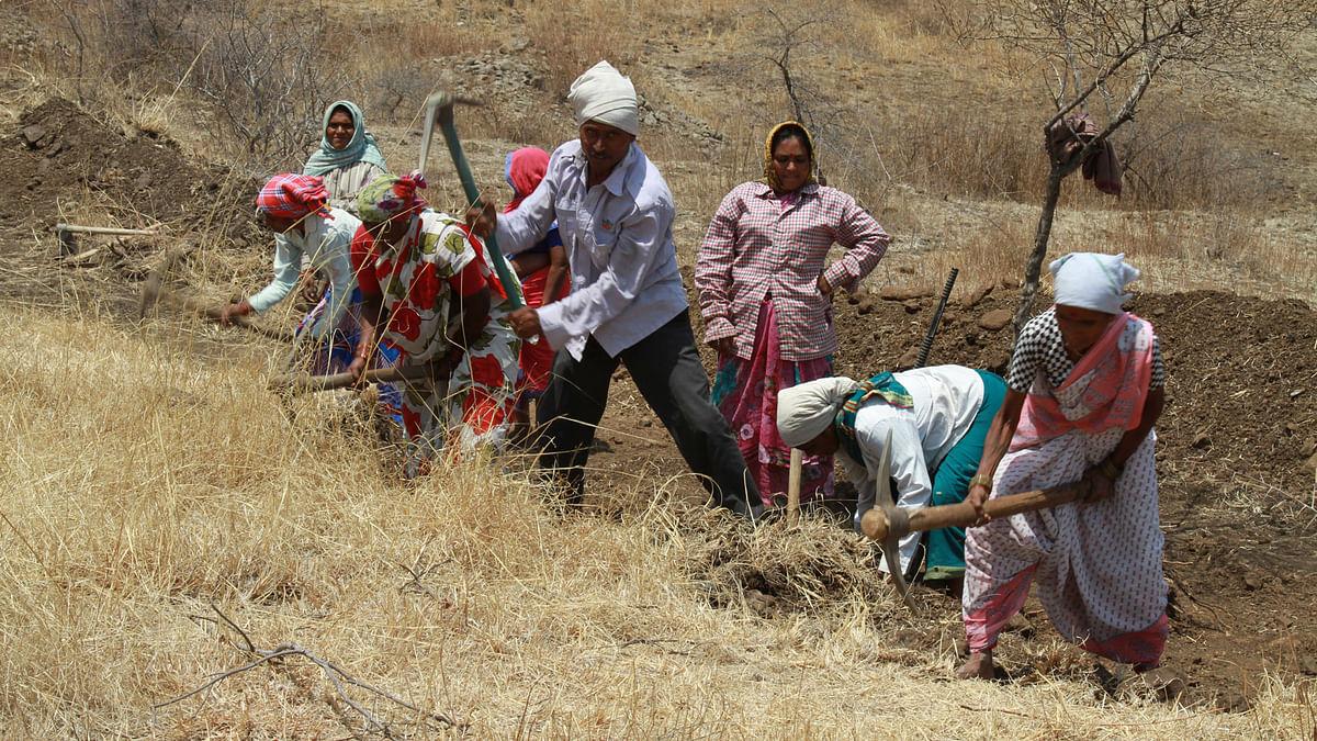 MNREGA workers at Parli taluka in Beed district. (Photo: Vivian Fernandes/ <b>The Quint</b>)