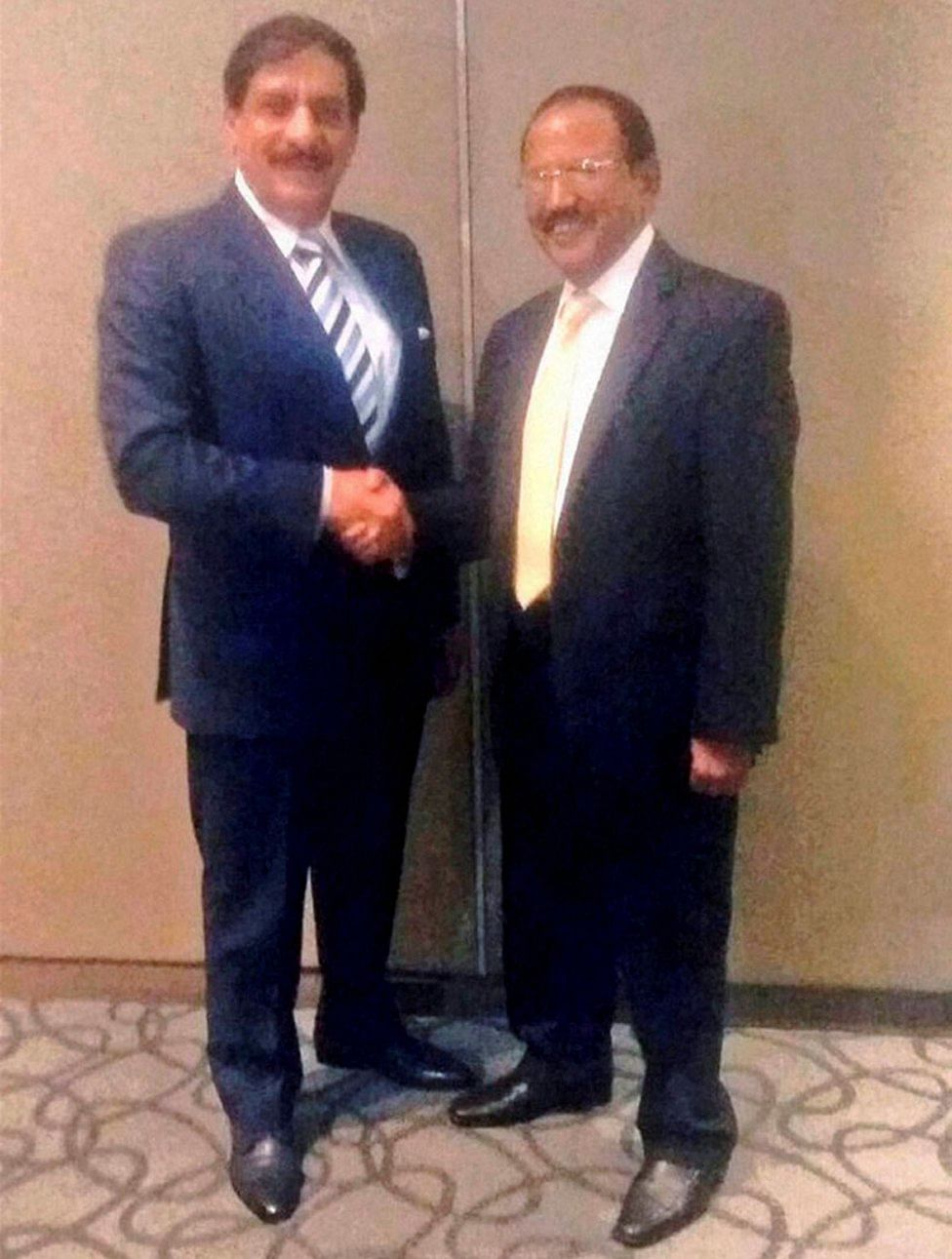 National Security Adviser Ajit Doval (right) with his Pakistani counterpart Nasser Khan Janjua at their secret meeting in Bangkok, Thailand, on Sunday. (Photo: PTI)