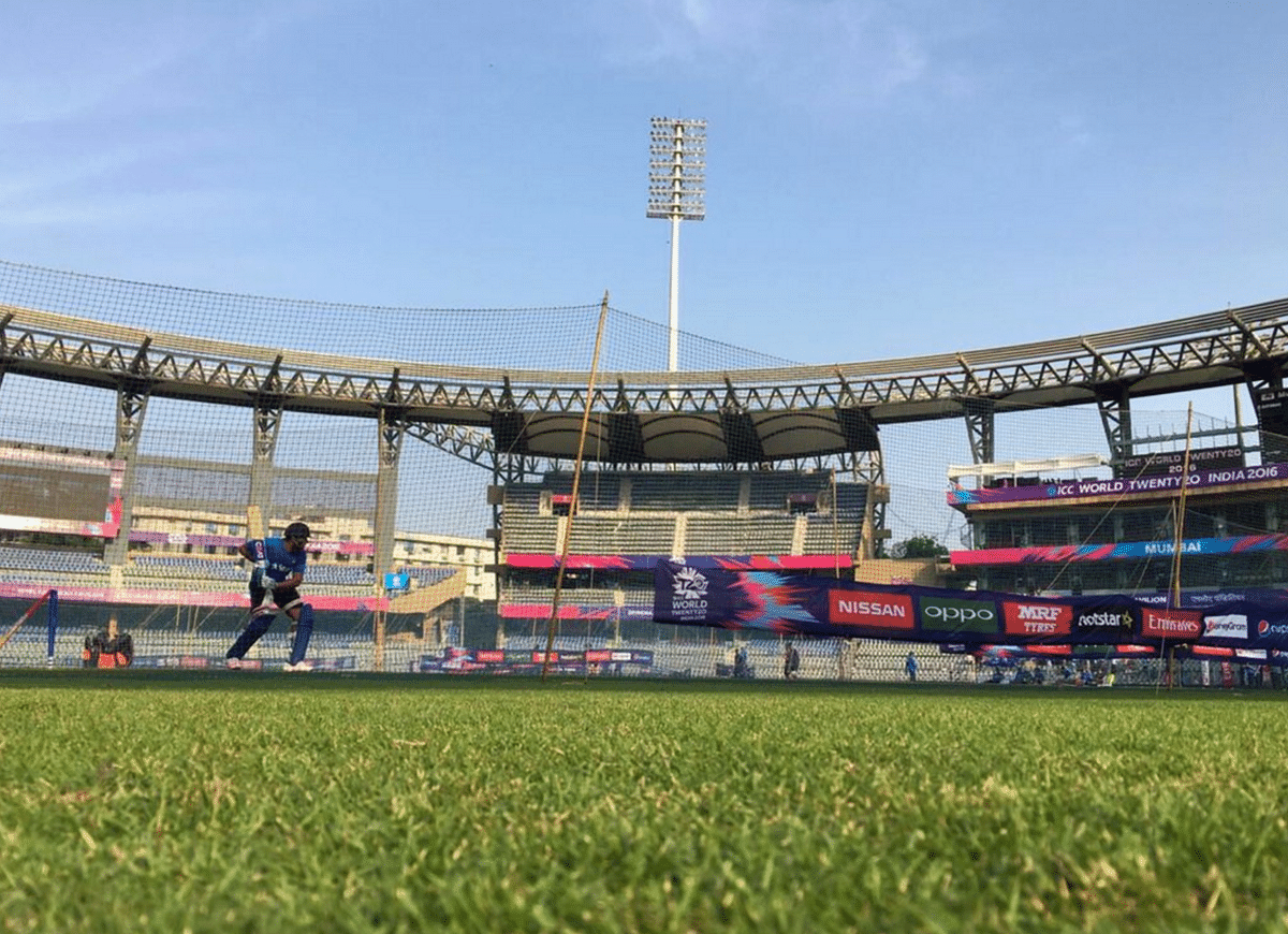 """Rohit Sharma practicing at Wankhede stadium. (Photo Courtesy: Twitter/<a href=""""https://twitter.com/BCCI"""">@BCCI</a>)"""