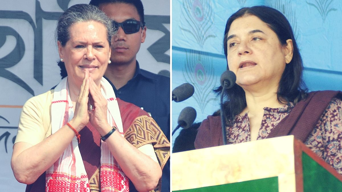 Sonia Gandhi (left) and Maneka Gandhi (right). (Photo: IANS)