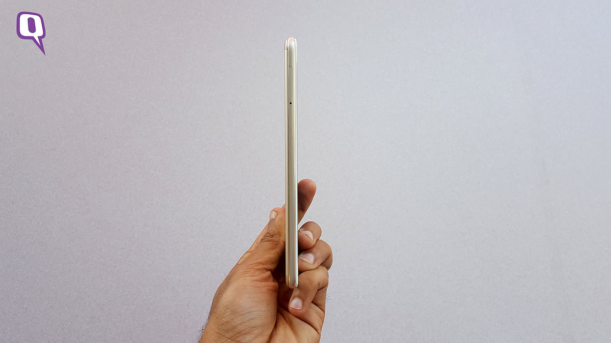 The Vivo V3 series of phones measure at less than 8-mm in thickness. (Photo: <b>The Quint</b>)