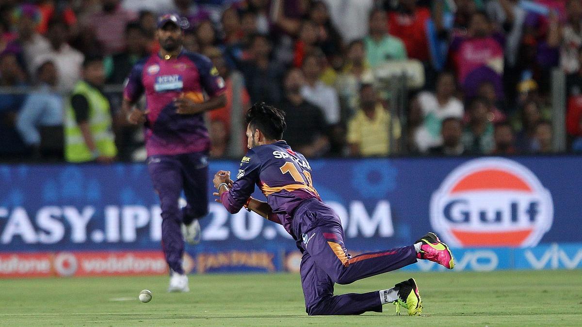 Virat Kohli hit a skier without any distance off R Ashwin's bowling, but Ankit Sharma missed it. (Photo: BCCI)