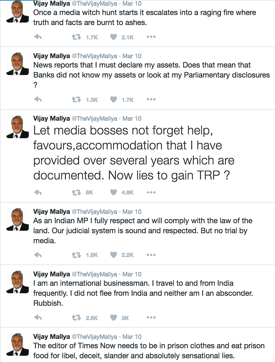 There Seems to Be No Trouble in Vijay Mallya's Twitter-Paradise