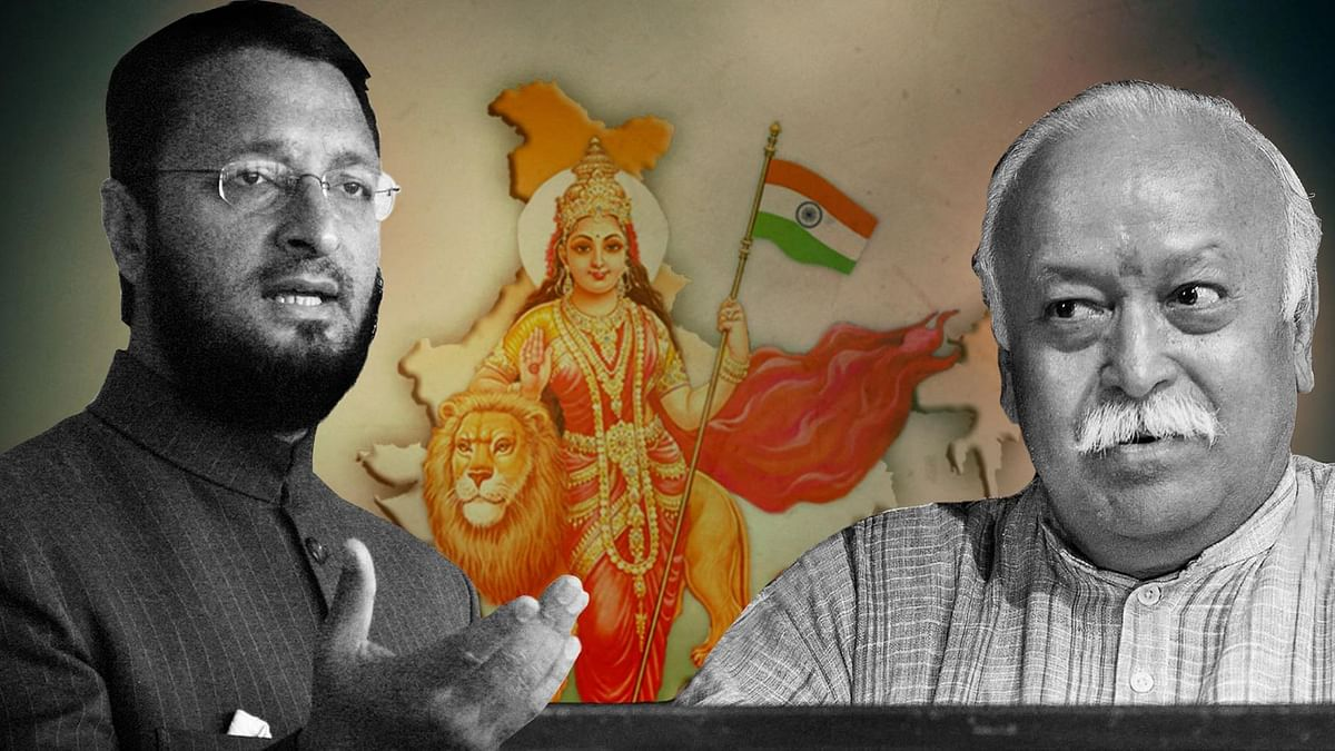 The fight over Bharat Mata Ki Jai between Asaduddin Owaisi and Mohan Bhagwat has attracted fatwas against the chant. (Photo: <b>The Quint</b>)