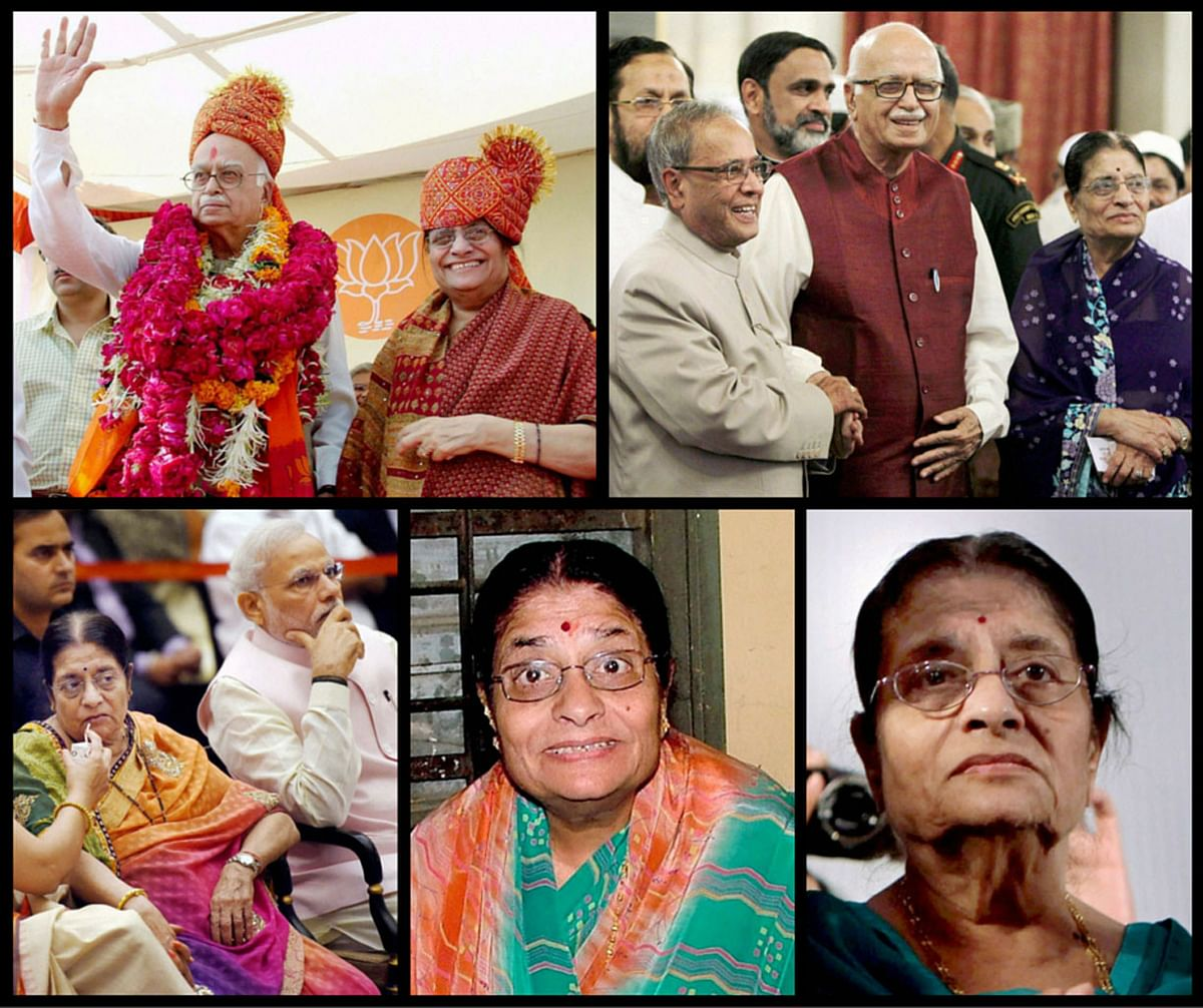 BJP leader LK Advani with wife Kamla Advani on various occasions. (Photo: PTI/<b>The Quint</b>)