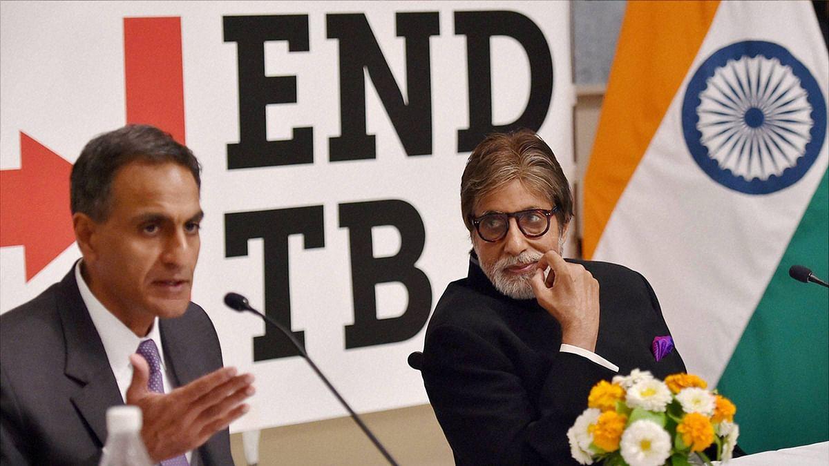 Bollywood actor Amitabh Bachchan and US Ambassador to India Richard Verma during a press conference. (Photo: PTI)