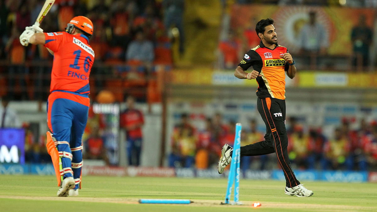 Bhuvneshwar Kumar, in action against Gujarat Lions (Photo: BCCI)