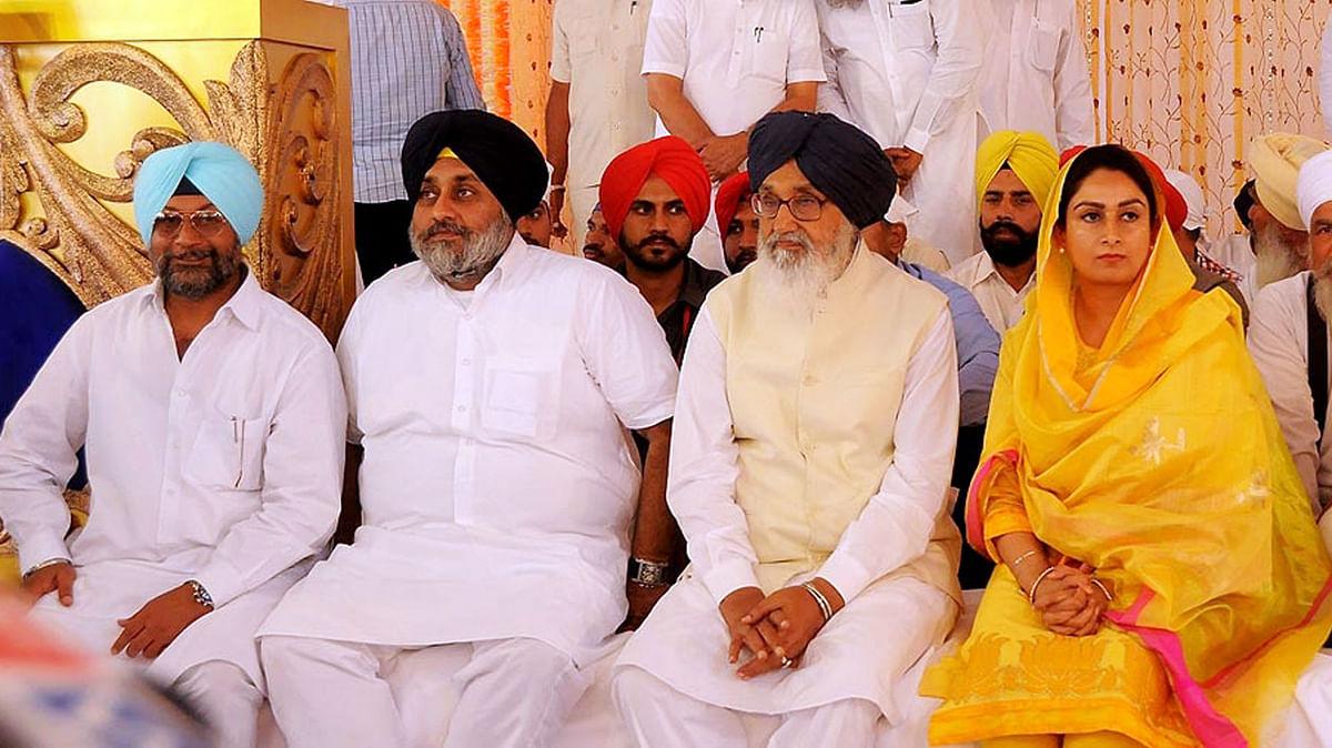 Punjab Chief Minister Parkash Singh Badal, Deputy Chief Minister Sukhbir Singh Badal and Union Minister of Food Processing Harsimrat Kaur Badal during a programme in Talwandi Sabo, Punjab on April 14, 2015. (Photo: IANS)