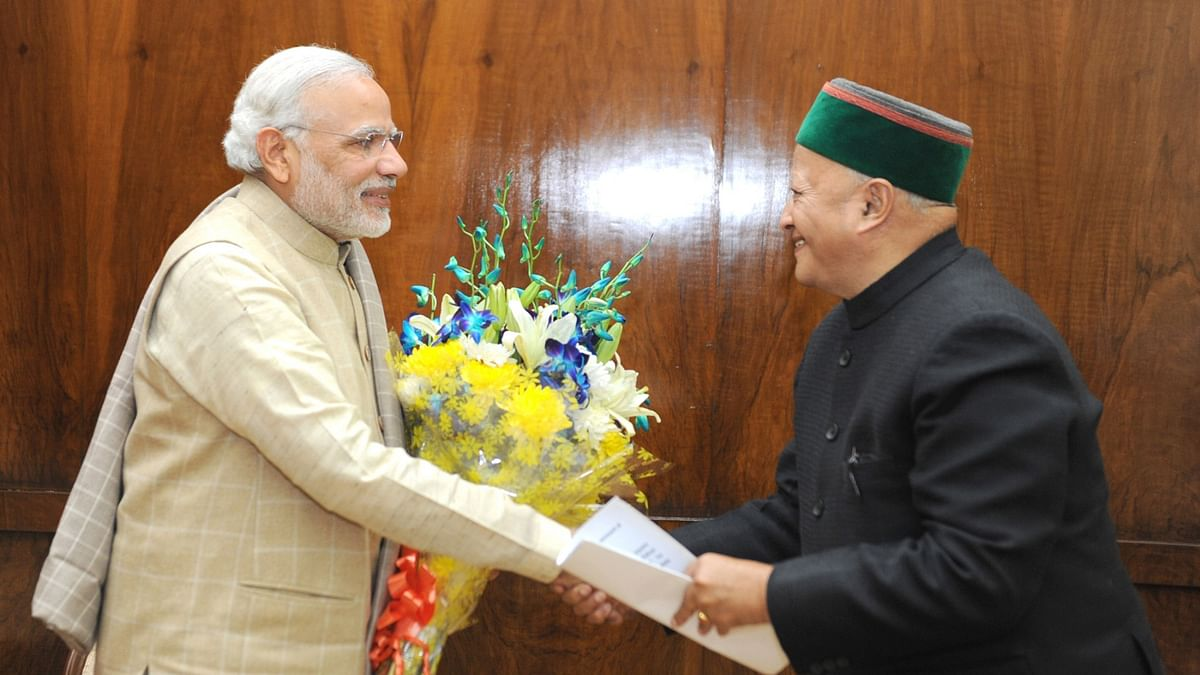 Himachal Chief Minister Virbhadra Singh calls on the Prime Minister Narendra Modi, in New Delhi on December 10, 2015. (Photo: IANS/PIB)