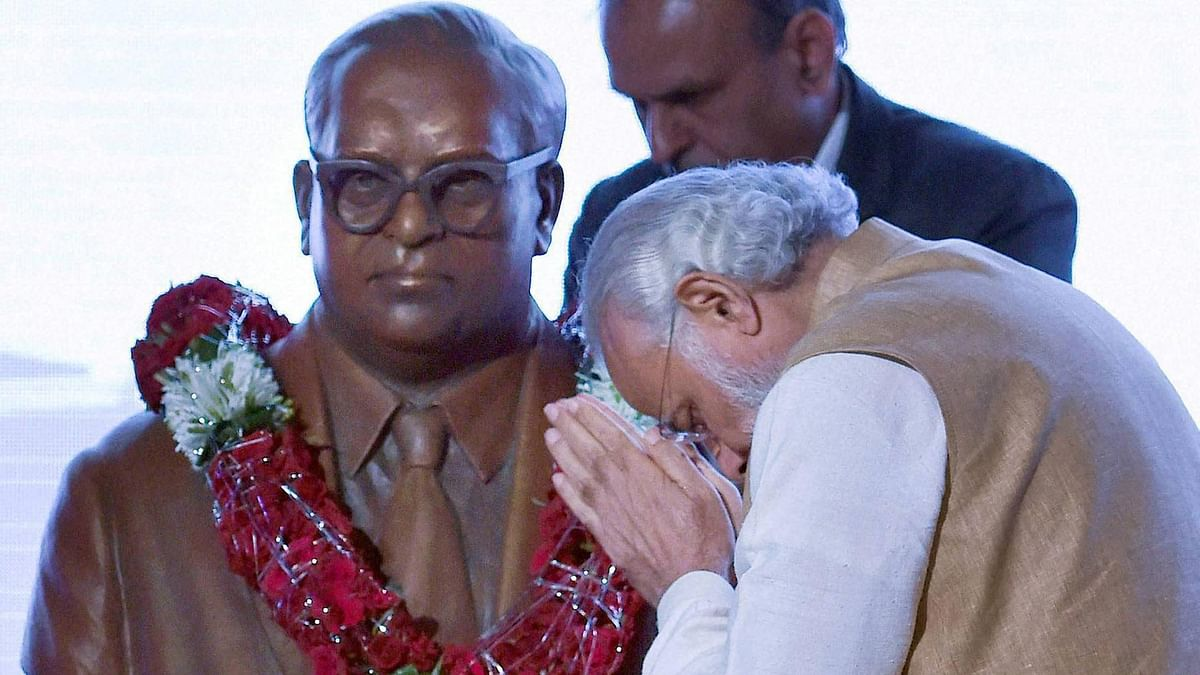 Prime Minister Narendra Modi pays tribute to bust of Babasaheb Ambedkar on the occasion of his 125th birth anniversary during the inaugural ceremony of Maritime India Summit 2016 in Mumbai on Thursday.(Photo: PTI)