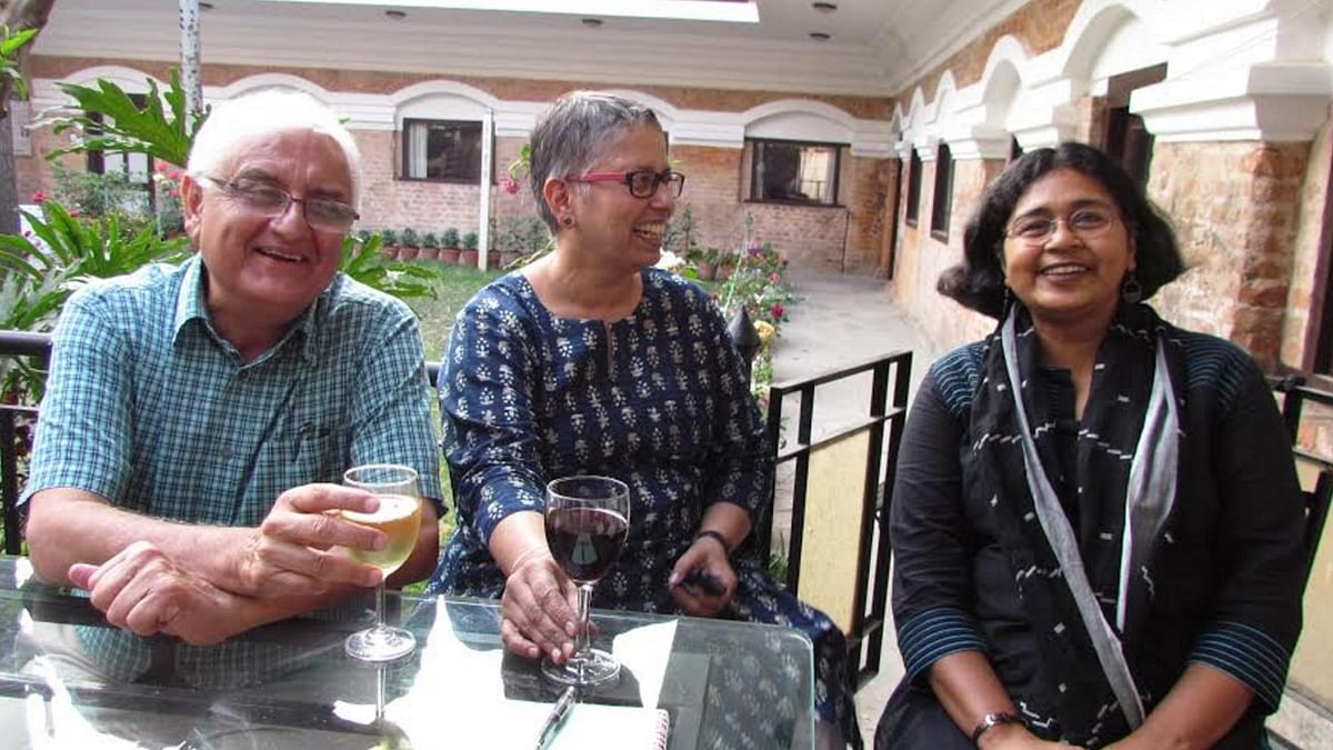 "Kanak Mani Dixit (left) with fellow journalists Laxmi Murthy (centre) and Aunohita Mojumdar in April 2016. (Photo Courtesy: <a href=""https://twitter.com/KanakManiDixit/status/722274360329801728"">Twitter.com/@KanakManiDixit</a>)"