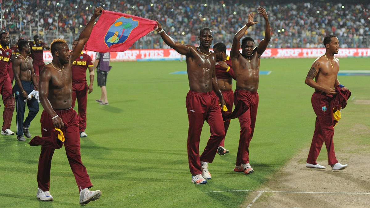 West Indies players celebrate after winning the ICC World T20 (Photo: IANS)