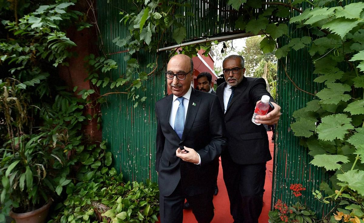 Abdul Basit, Pakistan High Commissioner to India leaving the Foreign Correspondent Club on Thursday, 7 April 2016. (Photo: PTI)