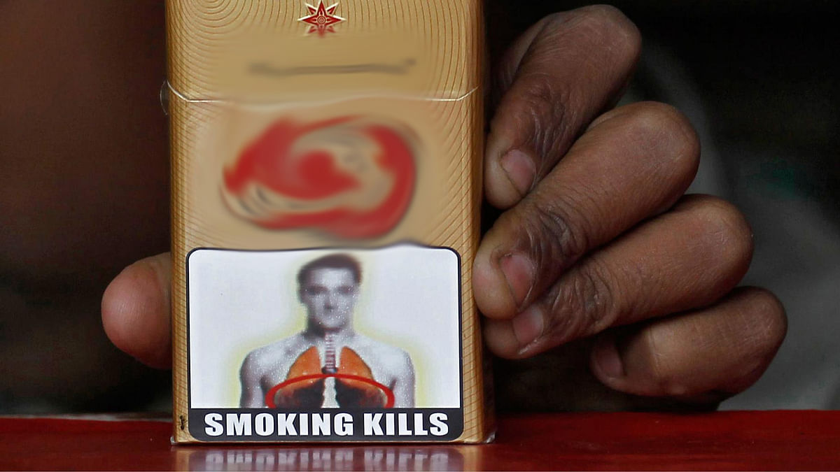 A health warning is printed on all cigarette packs sold in India.