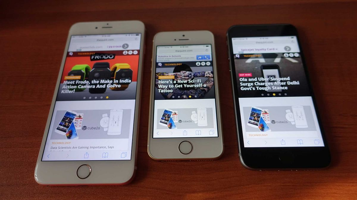 "From Left, Apple iPhone 6s Plus, Apple iPhone SE, Apple iPhone 6s. (Photo Courtesy: Twitter/<i><a href=""https://twitter.com/2shar"">@2shar</a>)</i>"