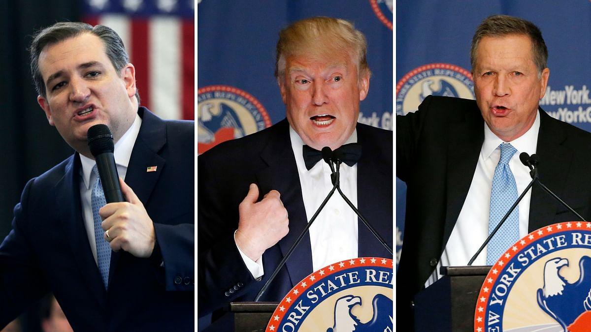 From left to right: Republican nominess Ted Cruz, Donald Trump and John Kasich. (Photo: AP)