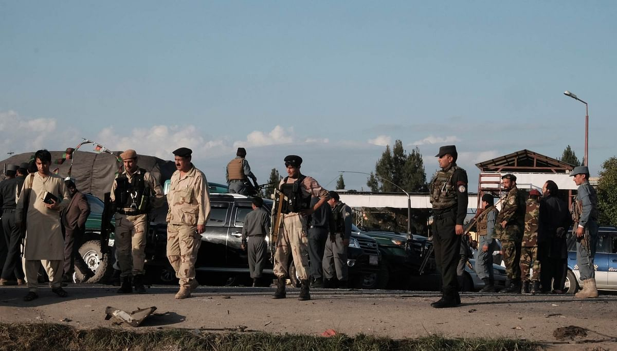 File photo: Afghan security force members inspecting the site of a suicide attack in Nangarhar province, eastern Afghanistan on Monday, 11 April 2016. (Photo: IANS)